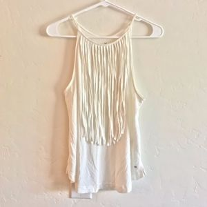 AEO Soft & Sexy White Fringe Lightweight Tank Top